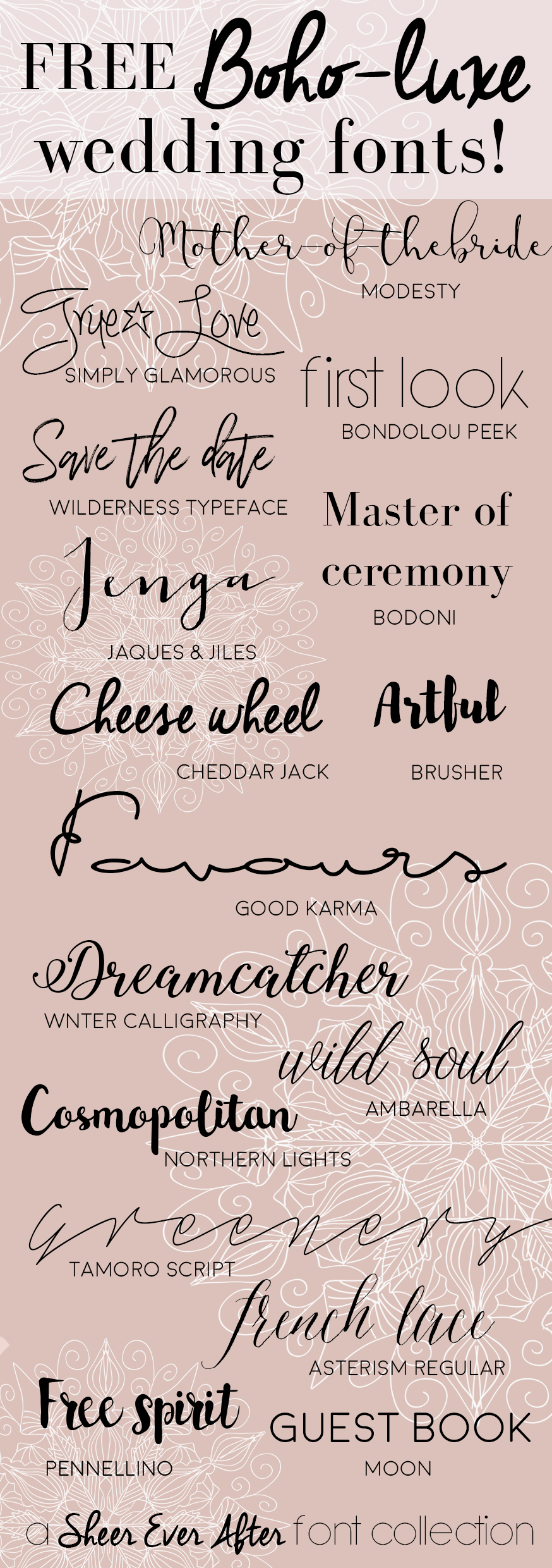 FREE Boho-Luxe Wedding Fonts | | Sheer Ever After